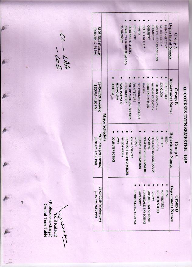 Gndu Date Sheet 2019 Ba B Com B Sc M A M Com Part 1 2 3 Scheme
